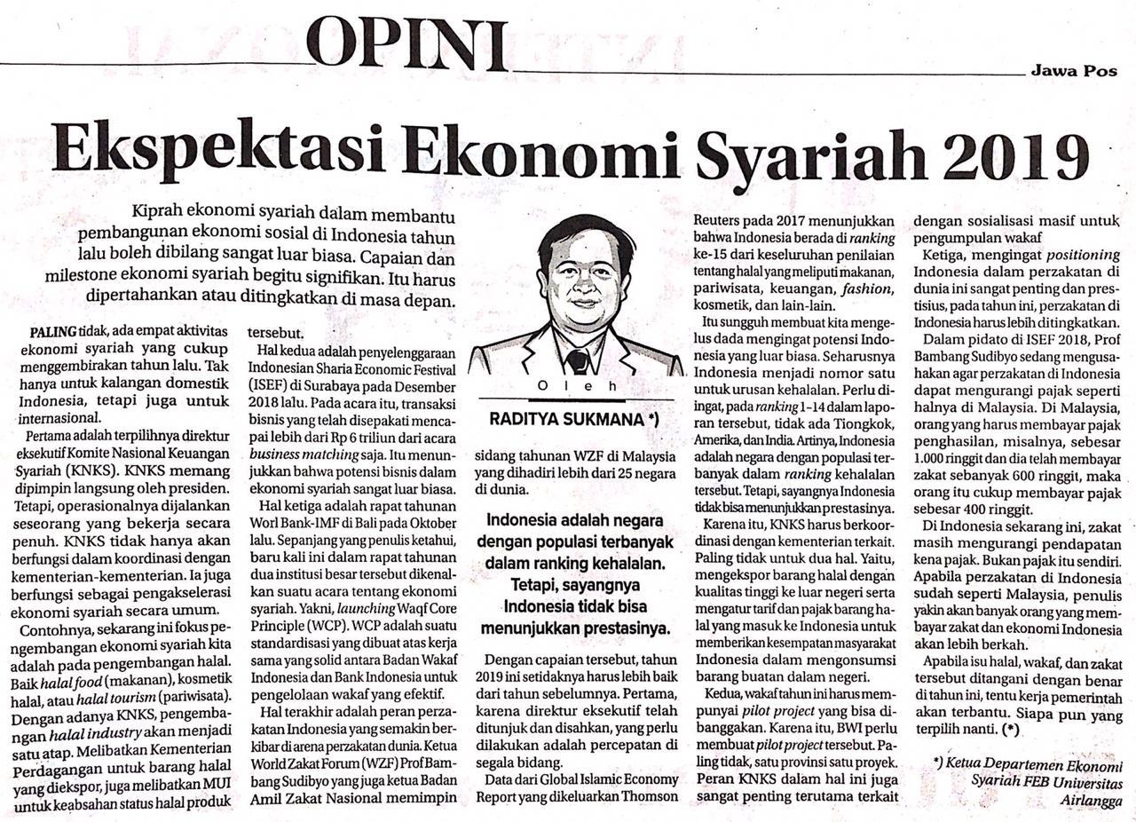 Dr Raditya Sukmana Ekspektaksi Ekonomi Syariah 2019